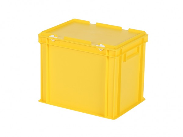 Stapelbak met deksel - 400x300xH335mm - geel