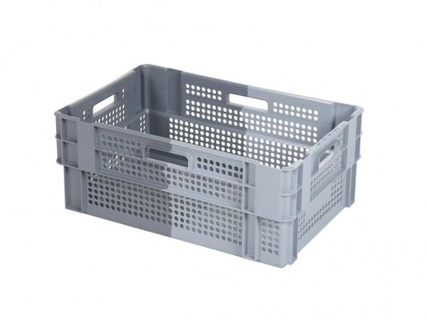 Stapel-nestbare krat - 600x400xH240mm - grijs/donkergrijs